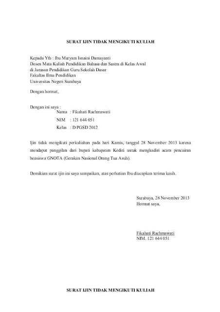 Contoh Surat Izin Tidak Masuk Kuliah (via: contohsuratin.com)