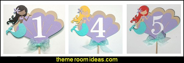 handmade mermaid cake topper  mermaid party decorations - mermaid party ideas - mermaid themed birthday party - ocean theme party decorations - under the sea party - little mermaid birthday party ideas - beach party - water theme parties - mermaid table decor - party props  under the sea birthday party - under the sea theme party table