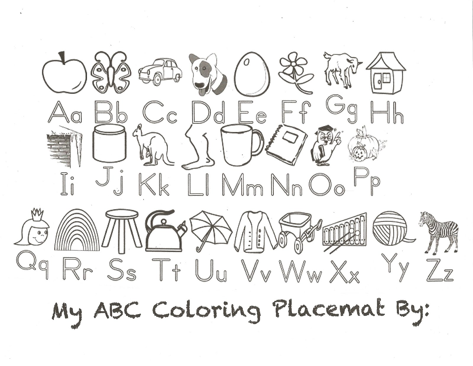 Classroom Freebies: Alphabet Placemat