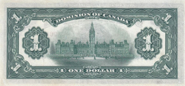 Dominion of Canada one Dollar banknote note bill