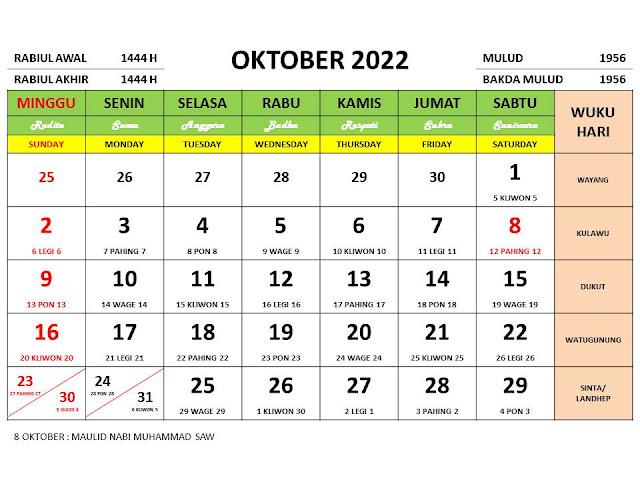 Kalender Bulan Oktober 2022 dan Hari Peringatannya