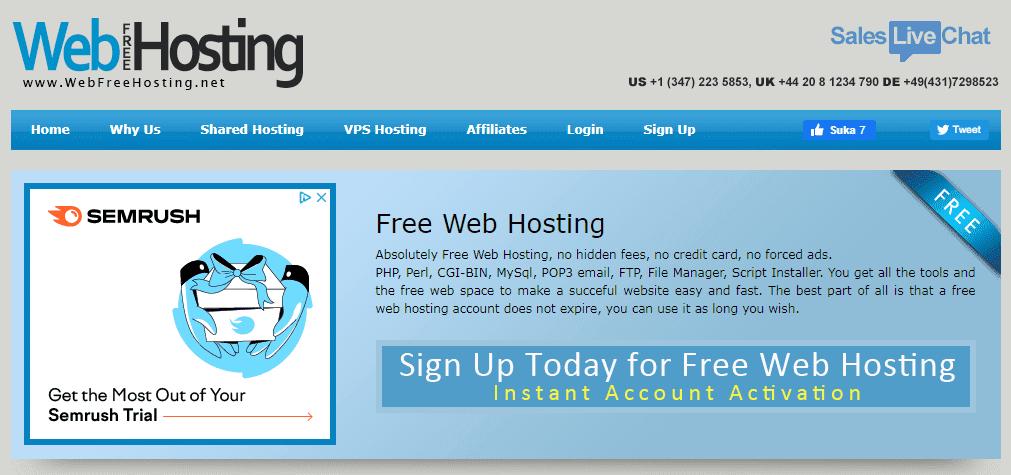 WebFreeHosting penyedia hosting gratis