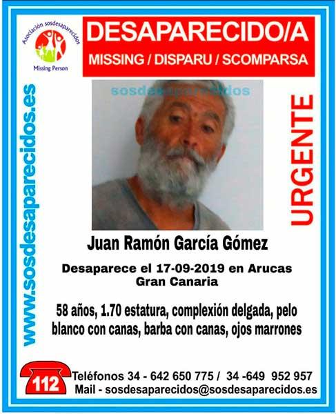Buscan desaparecido en Arucas, Juan Ramón García