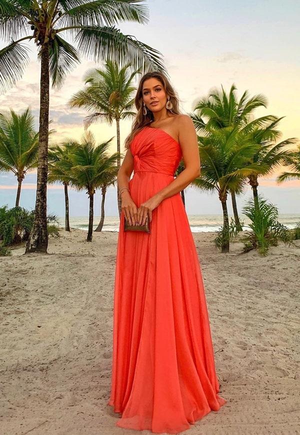 vestido de festa laranja para madrinha de casamento na praia