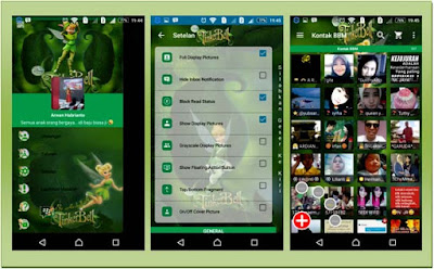 BBM Tinker Bell Green Themes New V.2.13.0.26 APK