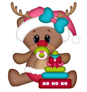 Free Baby Bears Wearing Reindeers Costume Clipart