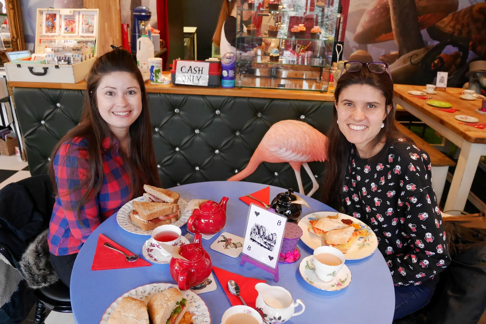 Sarah and Kat Last at the Alice and the Hatter tearoom in Herne Bay, Kent