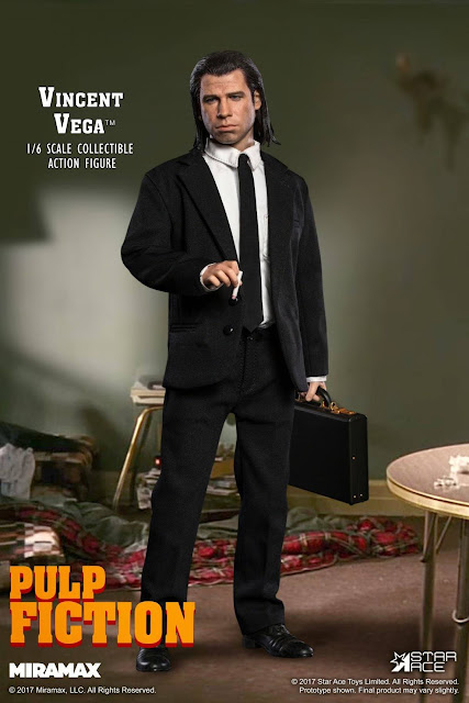"""621b0cf9c1 Star Ace 1/6th scale Vincent Vega Collectible figure features: Fully  realized authentic likeness of John Travolta as Vincent Vega in the movie """" Pulp ..."""