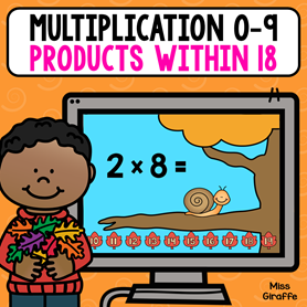 Multiplication of numbers 0-9 practice where all the products are within 18