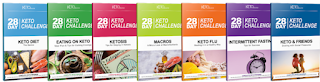 Image 28 Day Keto Plan Program Booklets titles include :Keto Diet Basics, Eating Well On Keto, Staying In Ketosis, Mastering Macros, Beating Keto Flu, Intermittent Fasting, Social Situations, Link opens in new tab