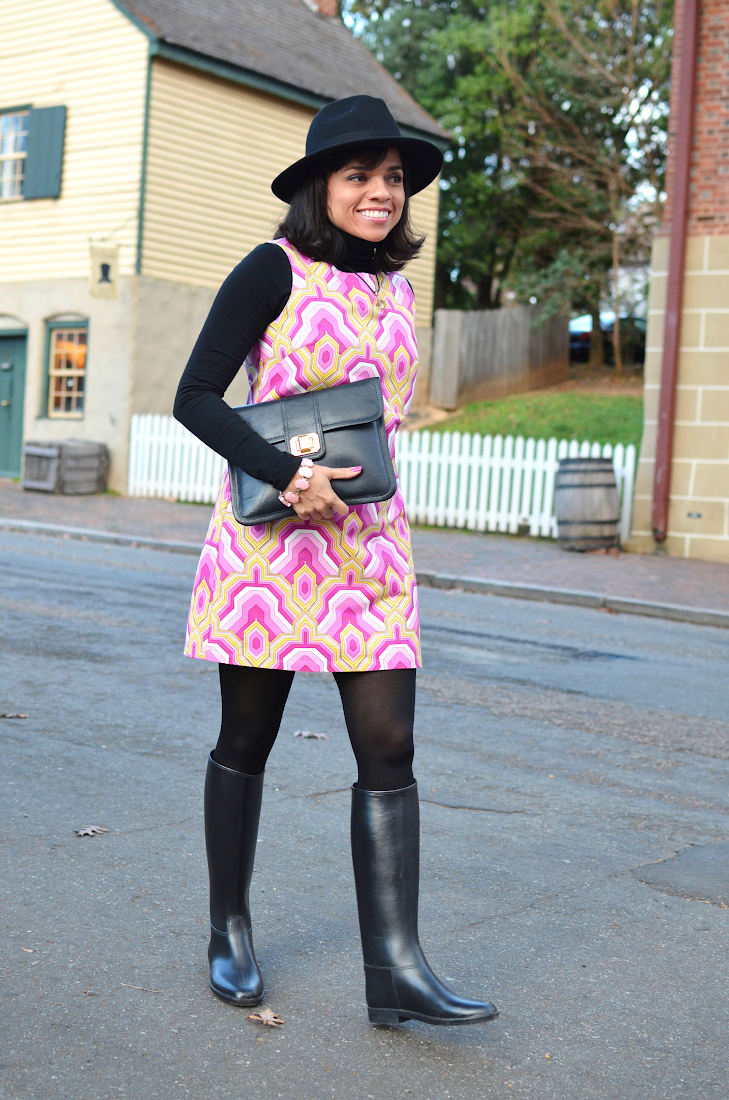 Dress With Rain Boots Street Style