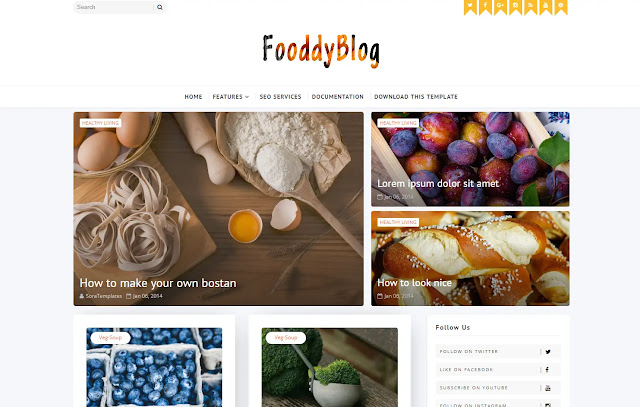 Fooddy Responsive Magazine Personal Blog Coking Recipes Blogger Template Theme