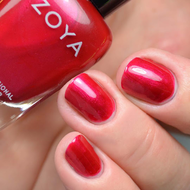 red metallic nail polish swatch