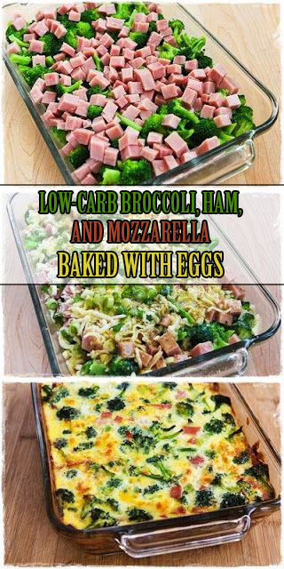THE BEST #LOWCARB #BROCCOLI, #HAM, AND #MOZZARELLA BAKED WITH #EGGS #RECIPE