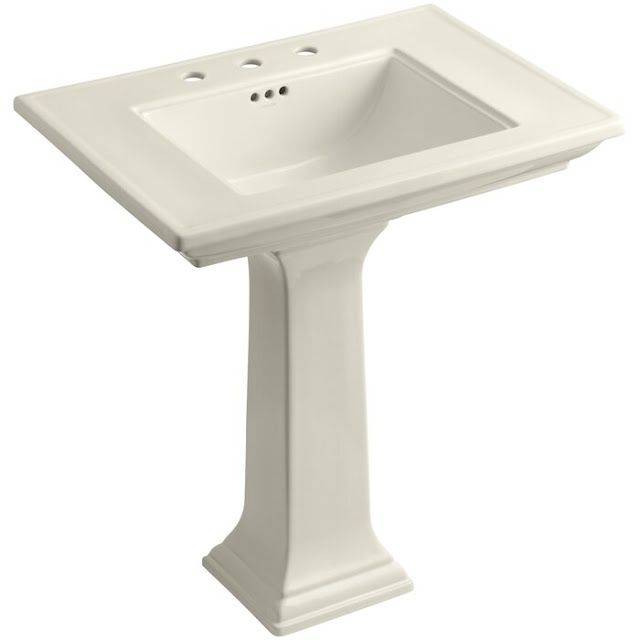Memoirs Ceramic Pedestal Bathroom Sink with Overflow