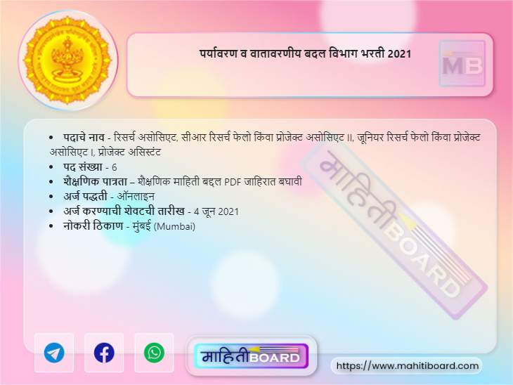Environment and Climate Change Department Bharti 2021