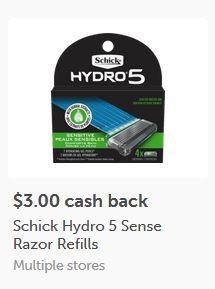$3.00/1-Schick Hydro 5 refills ibotta CASH BACK Rebate *HERE*