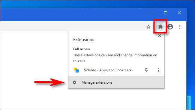 """في Chrome ، انقر على زر الامتدادات وحدد """"إدارة الإضافات""""."""