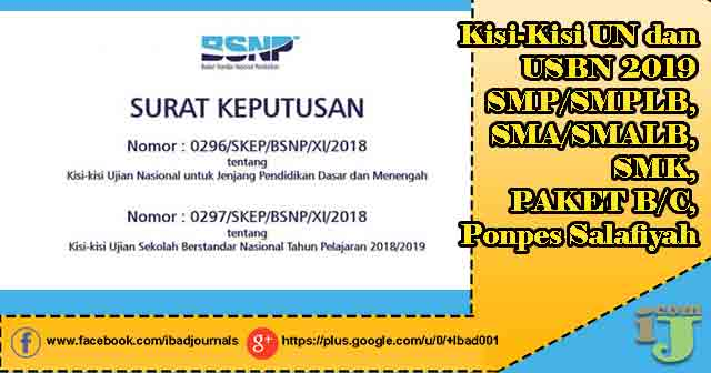 Keputusan ini ditetapkan dalam Surat Keputusan BSNP Nomor Nomor  Kisi-Kisi Un Dan Usbn 2019 Smp/Smplb, Sma/Smalb, Smk, Paket B/C, PonpesSalafiyah