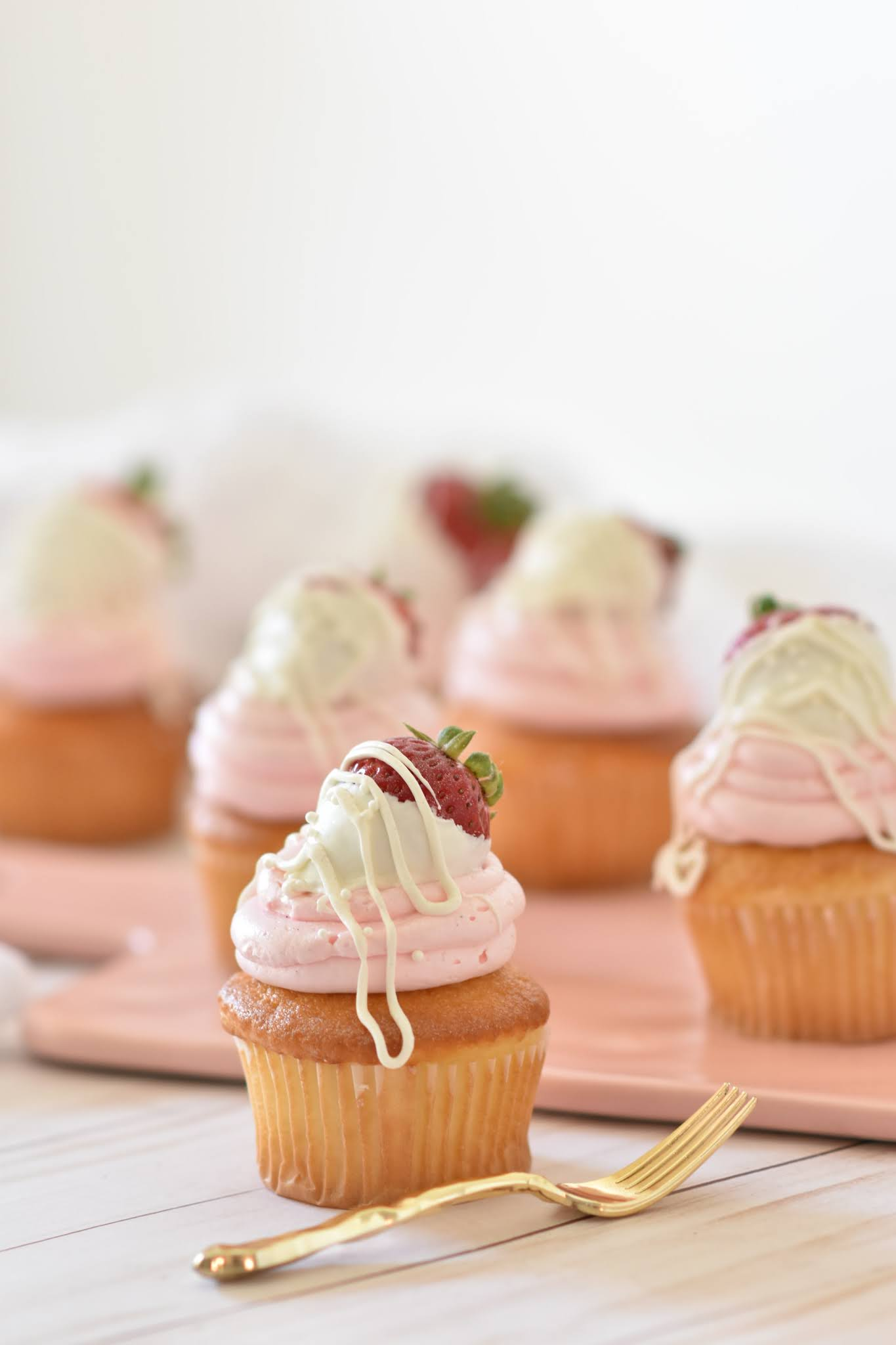 Strawberry Shortcake Cupcakes with Strawberry Buttercream Frosting