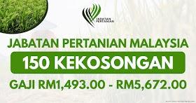 150 Kekosongan Jawatan Jabatan Pertanian Malaysia Tahun 2021 -  Gaji RM1,493.00 - RM5,672.00