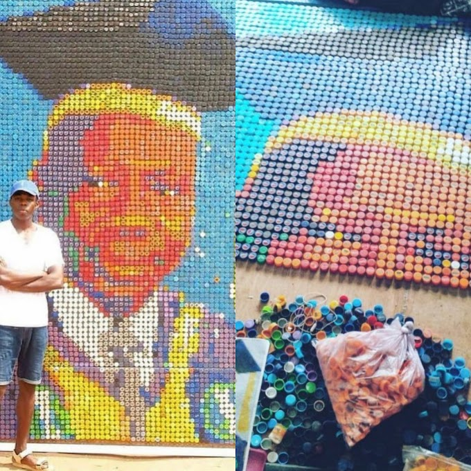 FIND HOW A UNIBEN STUDENT USED A BOTTLE COVERS TO CREATE A PORTRAIT OF HIS VICE CHANCELLOR.( SEE PHOTOS).