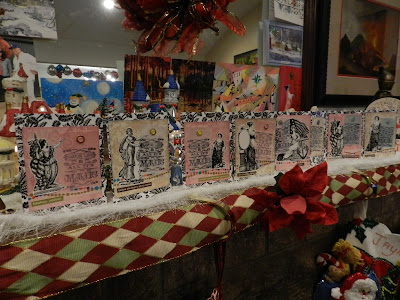 Eight finished cards with vellum tags, vintage images, sentiments on a decorated mantel.