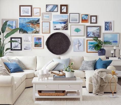 Large Coastal Gallery Wall above Sofa Idea
