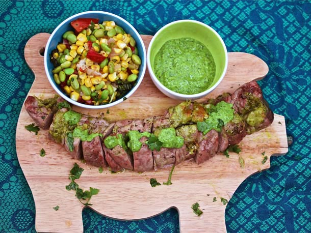 Cilantro Pesto-Stuffed Pork Tenderloin With Summer Succotash Recipe