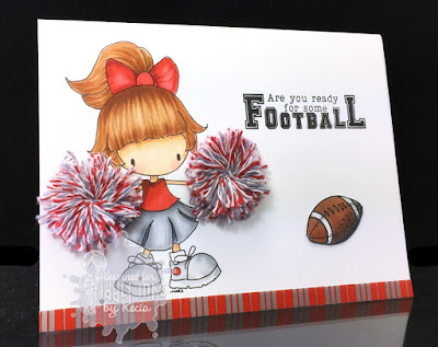 Tiddly Inks, Kecia Waters, Copic markers, cheerleader, Ohio State, Go Buckeyes!, pom-poms