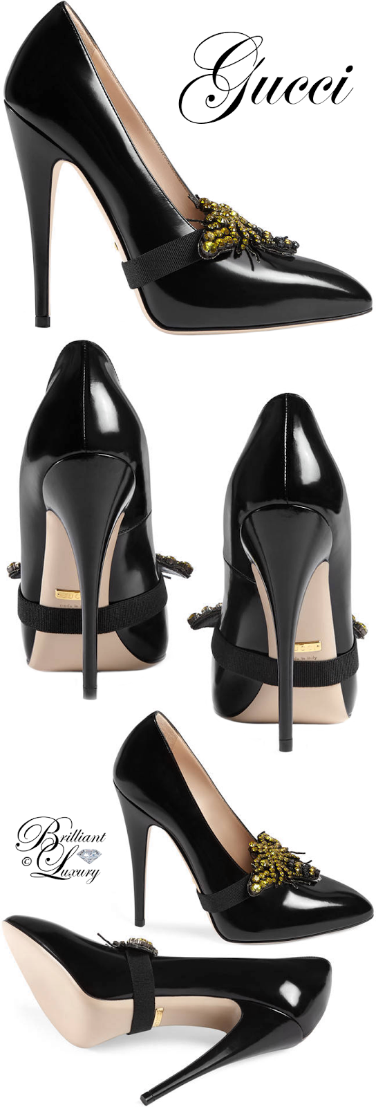 Brilliant Luxury ♦ Gucci Leather Pump With Removable Crystal Bee