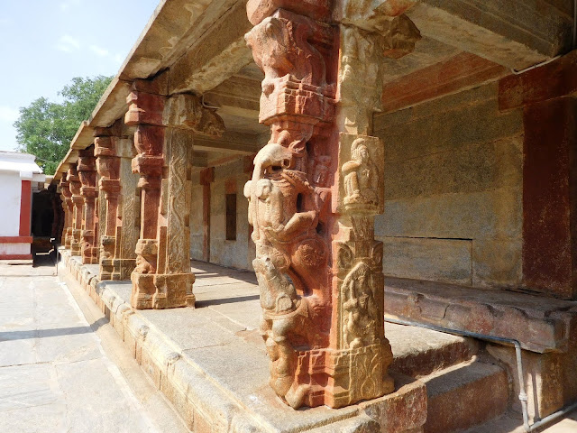 Yali (gaja-vyala) protectors carved on the inner boundary wall of the Bhoga Nandeeshwara Temple, Karnataka
