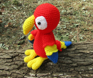 Cuddly crochet parrot handmade toy bird
