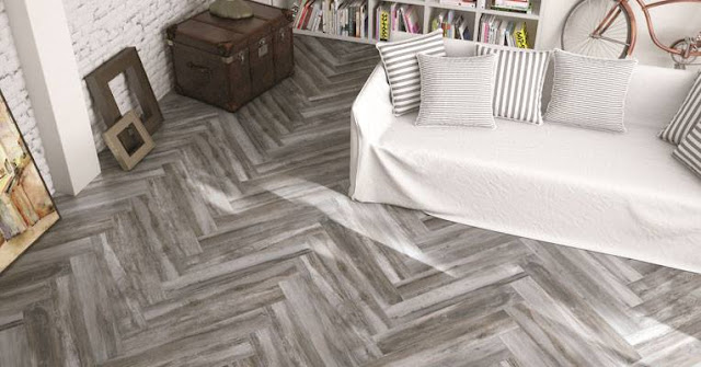 dark herringbone tile pattern for living room