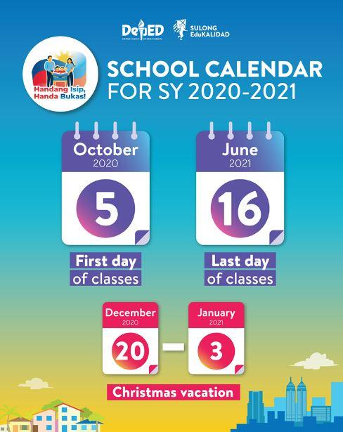 School Calendar SY 2020-2021.