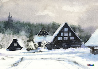 The Sirakawago in snow. Watercolor. 雪の白川郷。水彩で雪を描く課題です。