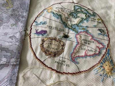 Cross stitch Olde World Map in progress