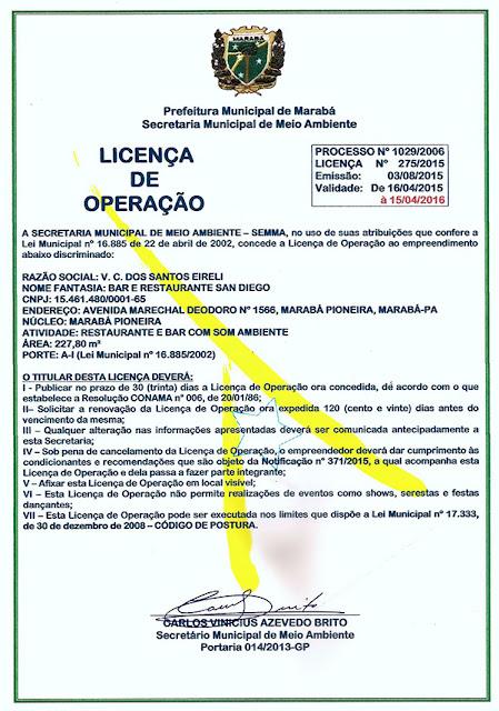 LICENÇA DE OPERAÇÃO DO BAR E RESTAURANTE SAN DIEGO EM MARABÁ/PA