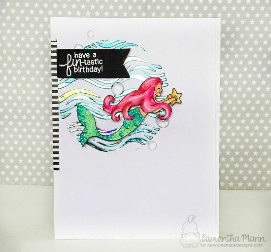 Newton's Nook Designs & Therm O Web Inspiration Week  | Mermaid foil card by Samantha Mann | Mermaid Crossing Stamp Set & Waves Stencil by Newton's Nook Designs #newtonsnook #handmade #thermoweb