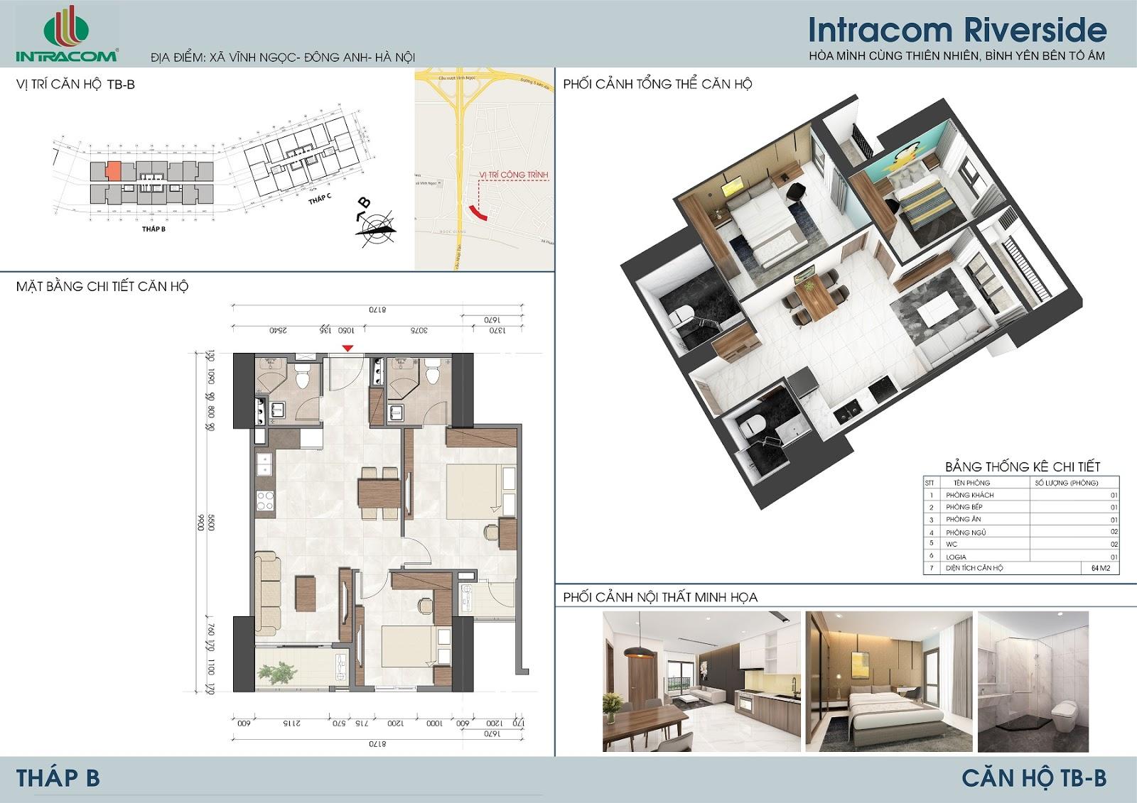 Thiết kế căn hộ 64m2 (02 phòng ngủ), căn số: 02, 07.