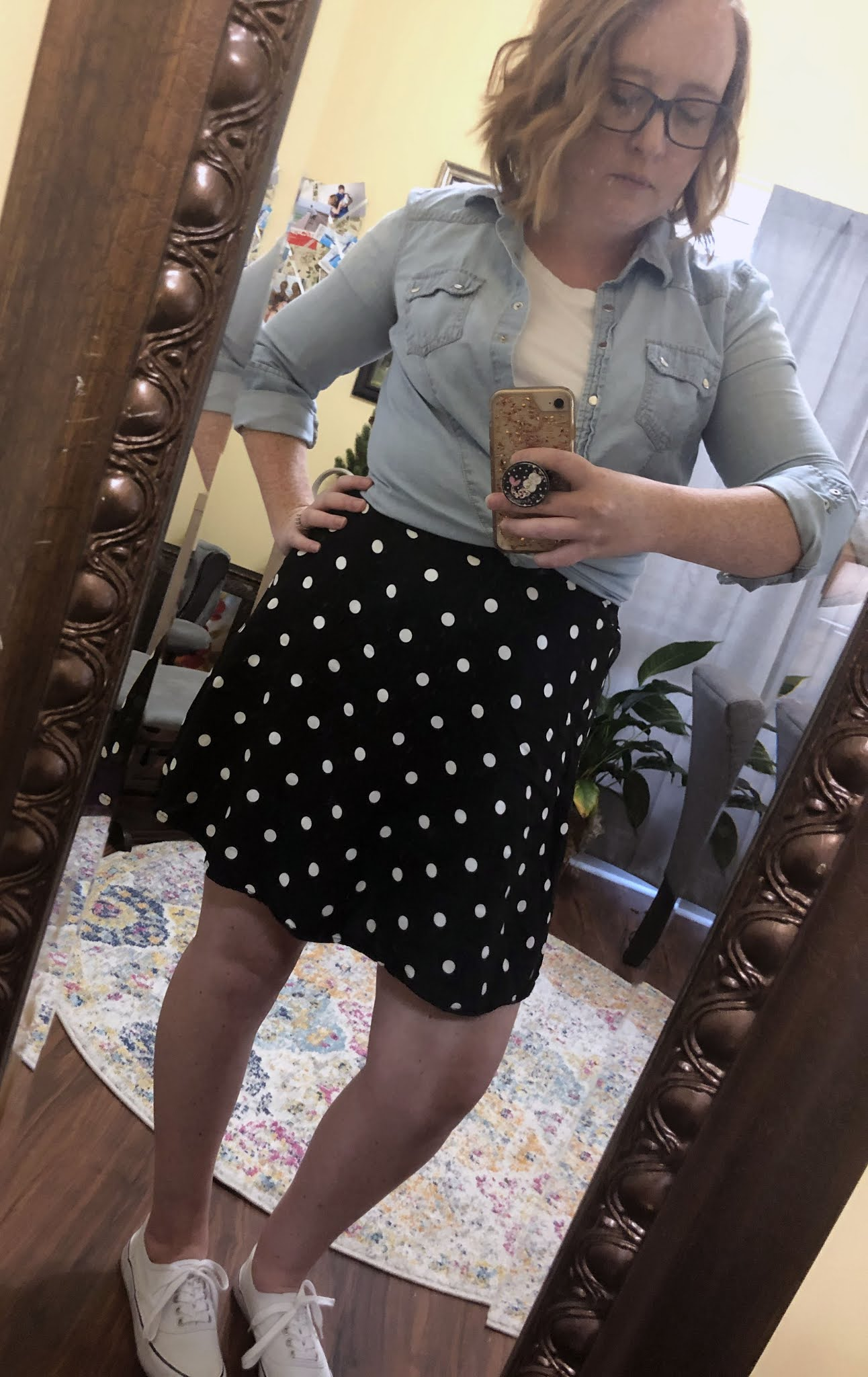 chambray polka dot skirt