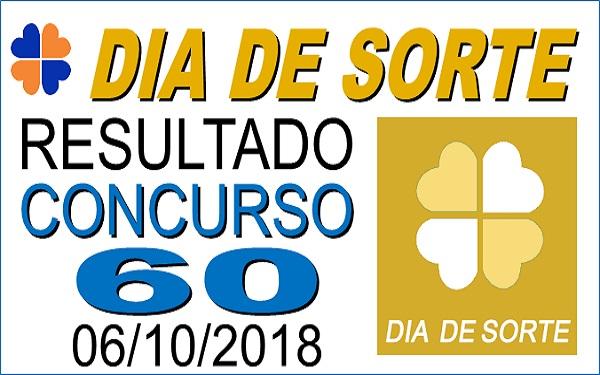 Resultado do Dia de Sorte concurso 60 de 06/10/2018 (Imagem: Informe Notícias)