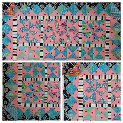 A collage of three photos shows the effect of peach and blue fabrics in the corner of the border