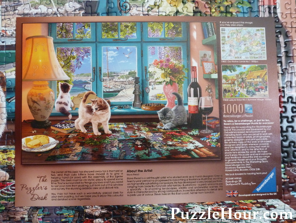 The Puzzler's Desk jigsaw puzzle fact sheet on the artist Ravensburger