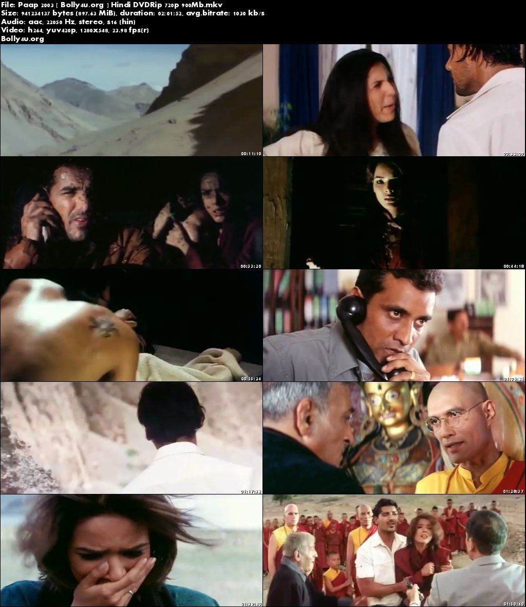 Paap 2003 DVDRip 900MB Full Hindi Movie Download 720p