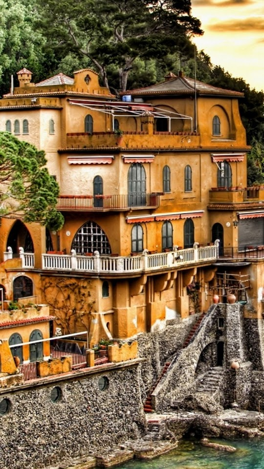 Portofino Coast Mansion  Galaxy Note HD Wallpaper