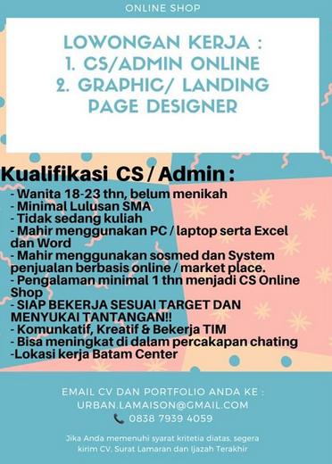 Loker Admin Online Loker Batam 2021