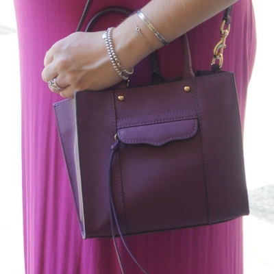 AwayFromTheBlue | Rebecca Minkoff plum purple mini MAB tote with pink maxi dress