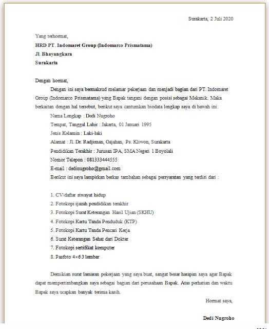 Contoh Surat Lamaran Kerja di Indomart