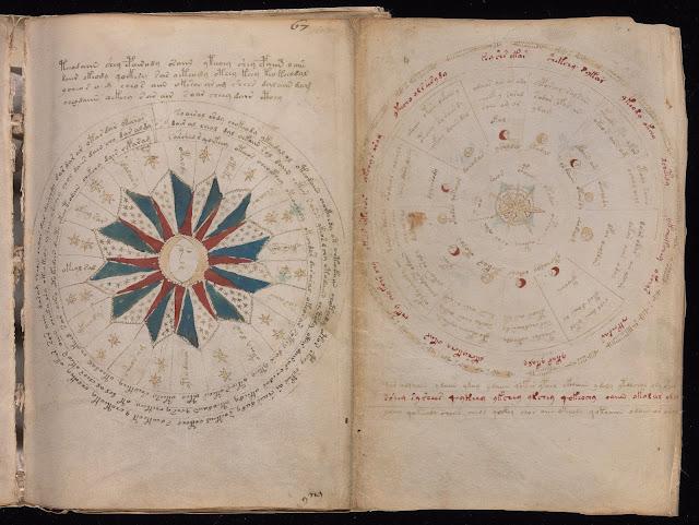 Voynich Elyazması - Astronomi ve Astroloji: Burada burç tabloları, daireler, güneşler, aylar, balık, boğa ve yay gibi burçların sembollerini andıran çizimler mevcut...